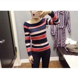 NWT Tommy Hilfiger Striped Off-Shoulder Knit Shirt